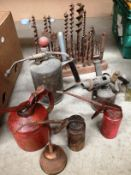10 assorted items assorted oil cans, brass blow torch,