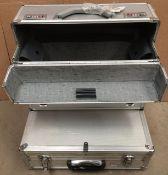 Two assorted aluminium tool boxes/cases