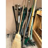 10 x assorted garden tools - spades, rakes, edge cutters etc.