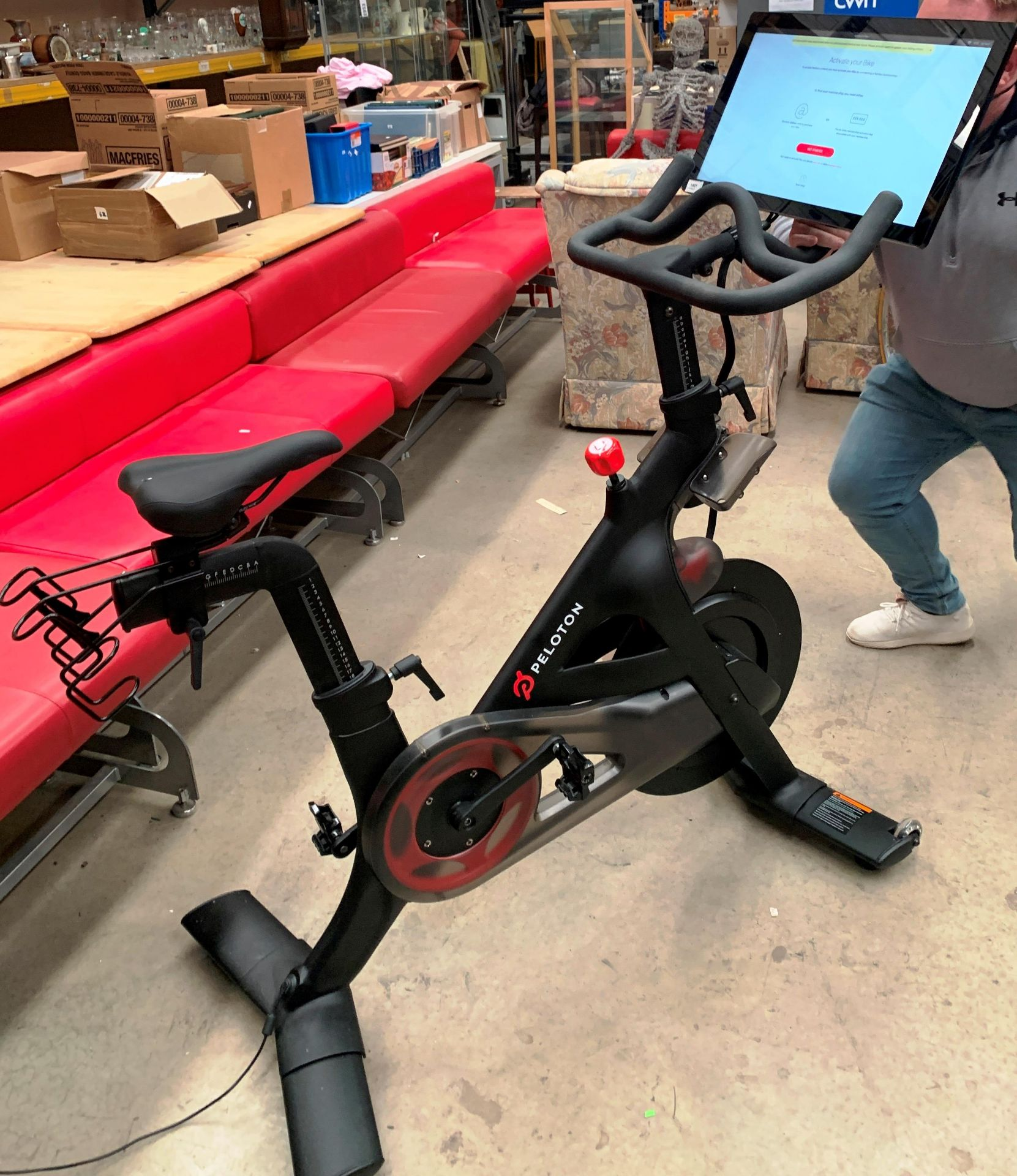 A PELOTON TRAINING BIKE with Peloton console model PLTN-RB1VQ complete with power lead and lock - - Image 12 of 12