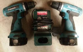 Two x Makita 6270D 12V cordless drills complete with two batteries and one charger