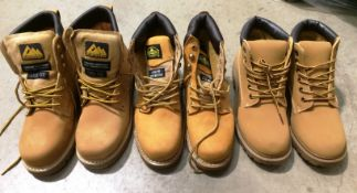 Three assorted pairs of tan boots, size 9 Northwest steel toe boots,