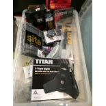 Crate and contents assorted hand tools, blades, attachments etc by DeWalt, Bosch etc.