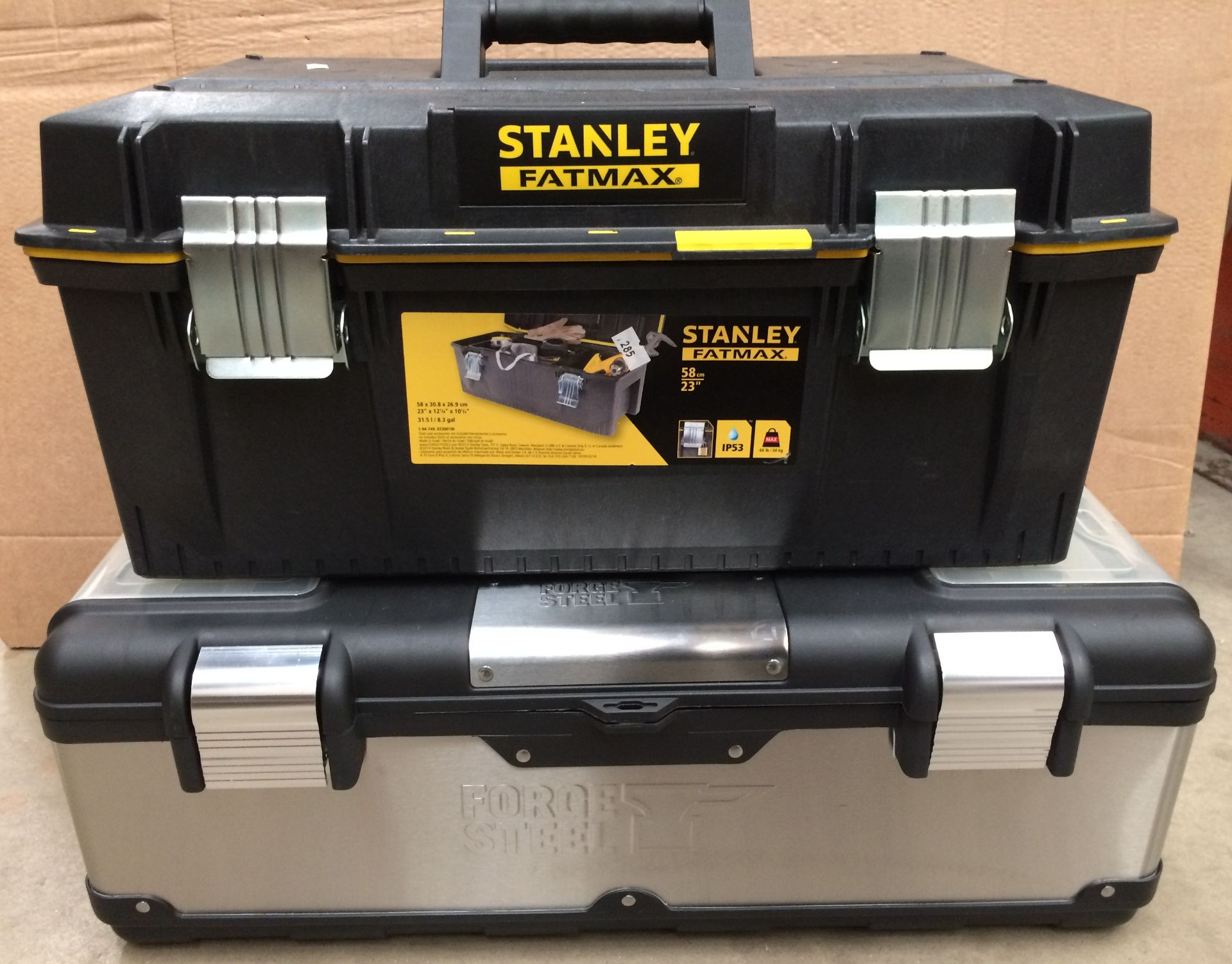 Two assorted tool boxes by Stanley Fat Max (58cm) and Forge Steel with a quantity of assorted hand