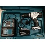 Makita DHP453 18v cordless hammer drill in case complete with one - (3.