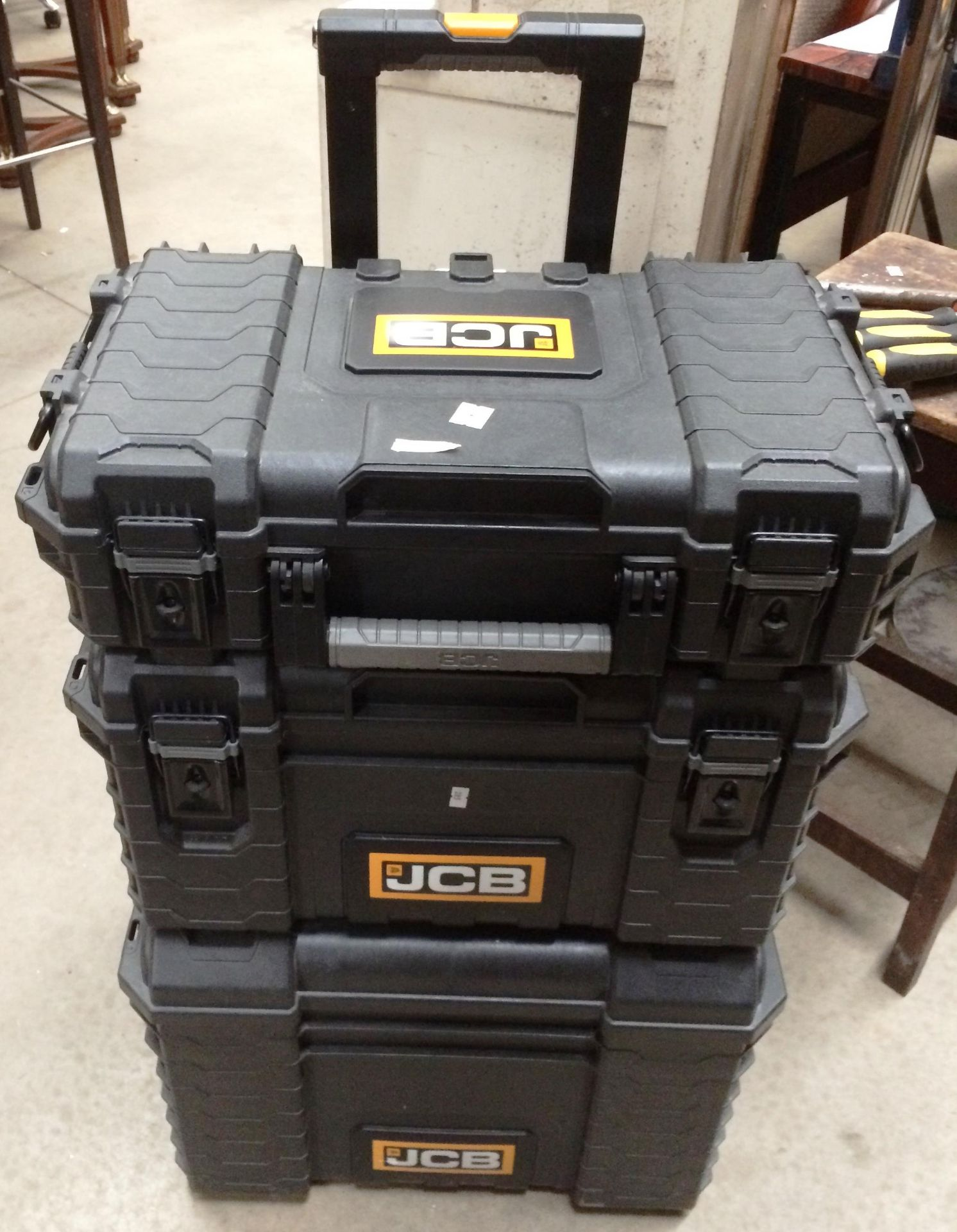 JCB three section stackable mobile tool box system