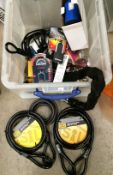 Contents to crate two x 3m x 15mm steel braided looped cables, one other,