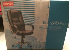 Staples Classic and Comfortable black bonded leather office swivel chair on metal base 108cm -