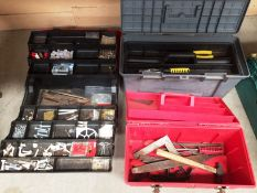 Three assorted tool boxes and contents hammer, drill bits, screws etc.