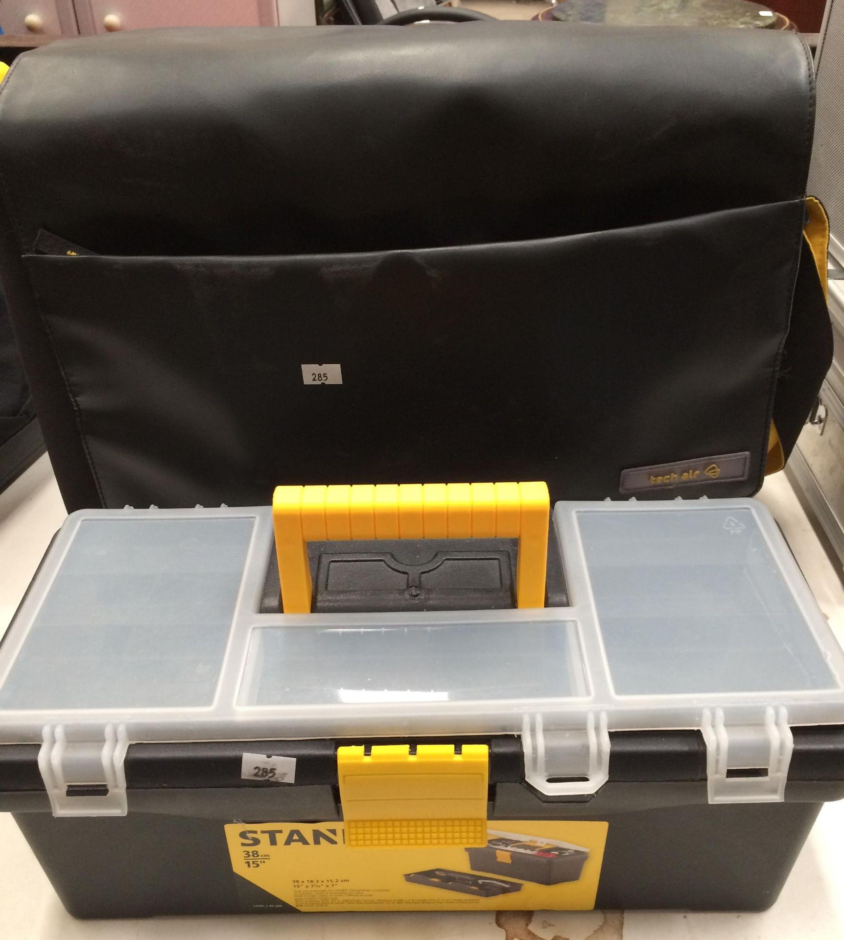 Stanley 38cm plastic tool box and a Tech Air shoulder bag