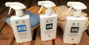 3 assorted 500ml spray bottles of Auto Glym, 1 x instant tyre dressing, 1 x custom wheel cleaner,