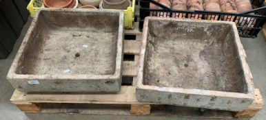 Two square ceramic plant containers 41 x 41 x 13cm - both have central drainage holes