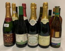 Sixteen various Brut Chardonnay, Brut Cava,