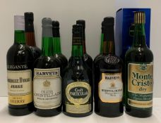 Ten various one litre and 70cl bottles of Sherry - Harvey's Bristol Cream, Croft Particular,