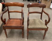 A mahogany framed armchair with green upholstered seat and a similar commode armchair - no bowl