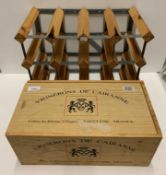 A small wine box Vignerons de Cairane 22 x 40 x 17cm high and a small sixteen bottle wine rack