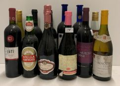 Twelve various bottles of red, white,