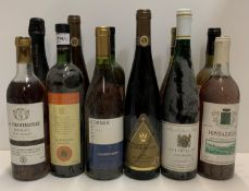 A collection of twelve various bottles of white wine and pinot noir - various labels and countries
