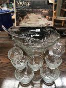 An Anchor Hocking incomplete vintage punch set comprising bowl, ladle,