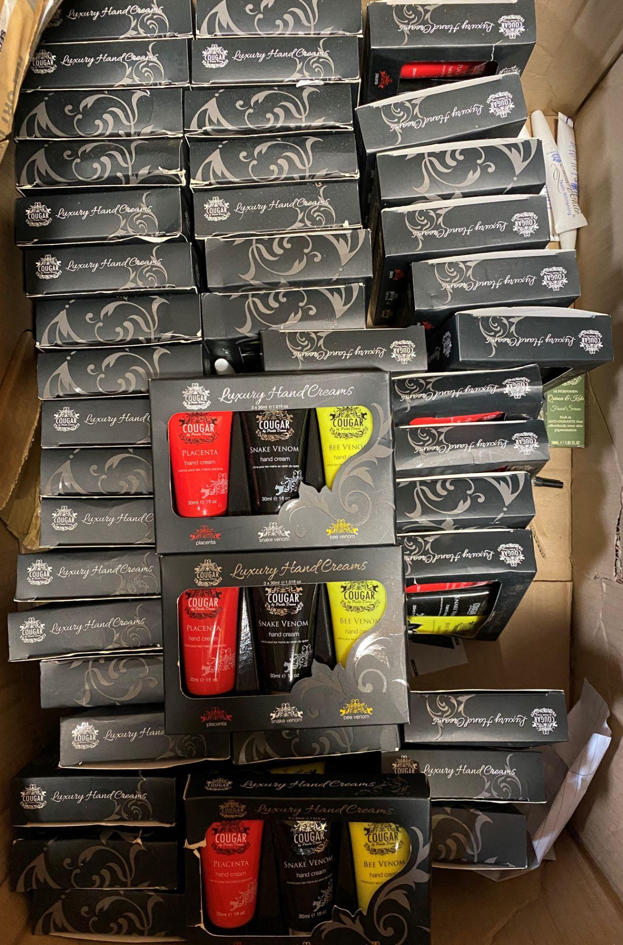 50 x Cougar Luxury Hand Cream sets - 3 x 30ml tubes in each inc.