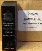 216 x Cougar Snake Venom Wrinkle Killer 100ml Body Gel