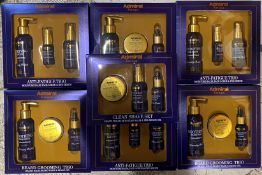 7 x assorted Admiral Beard Grooming and Clean Shave Trio Sets etc