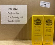 250 x Cougar 30ml Bee Venom Facial Serum - 5 outer boxes (Counts are approximate)