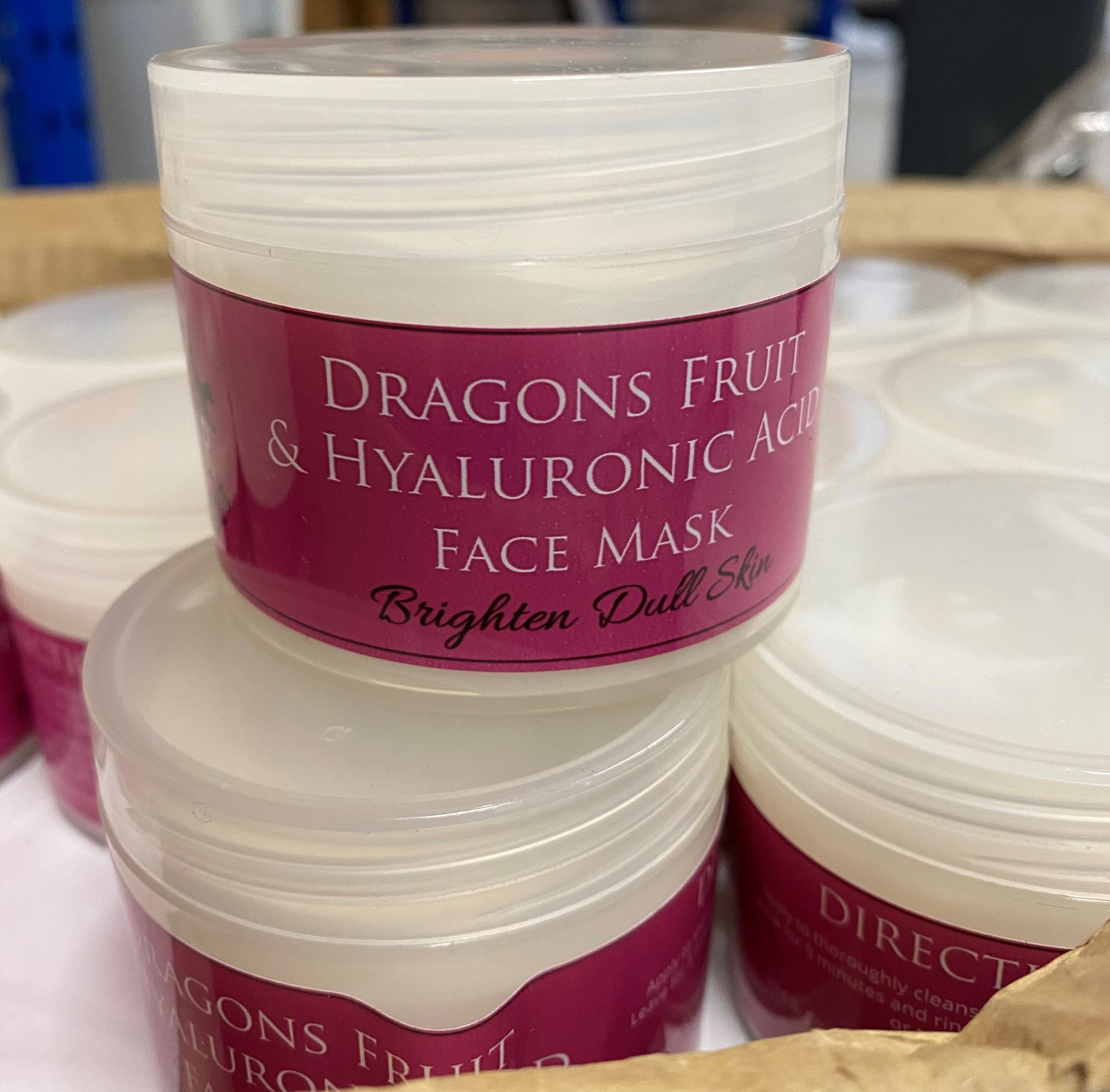 50 x 100ml pots of Cougar Dragons Fruit & Hyaluronic Acid Face Mask