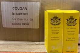 220 x Cougar 30ml Bee Venom Facial Serum - 4 outer boxes (Counts are approximate)
