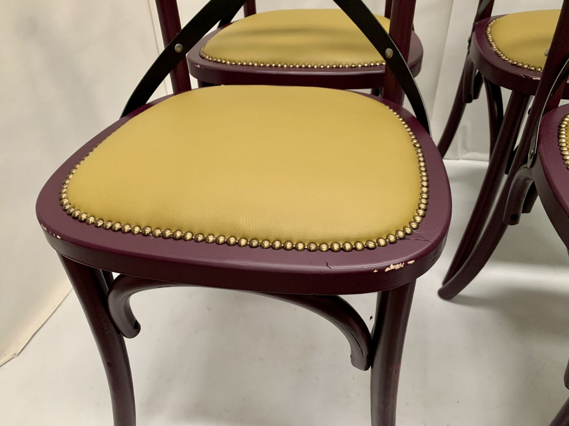 4 x Palm dark purple wooden dining chairs with raw coloured leather effect seats - 51cm x 55cm x - Image 2 of 3