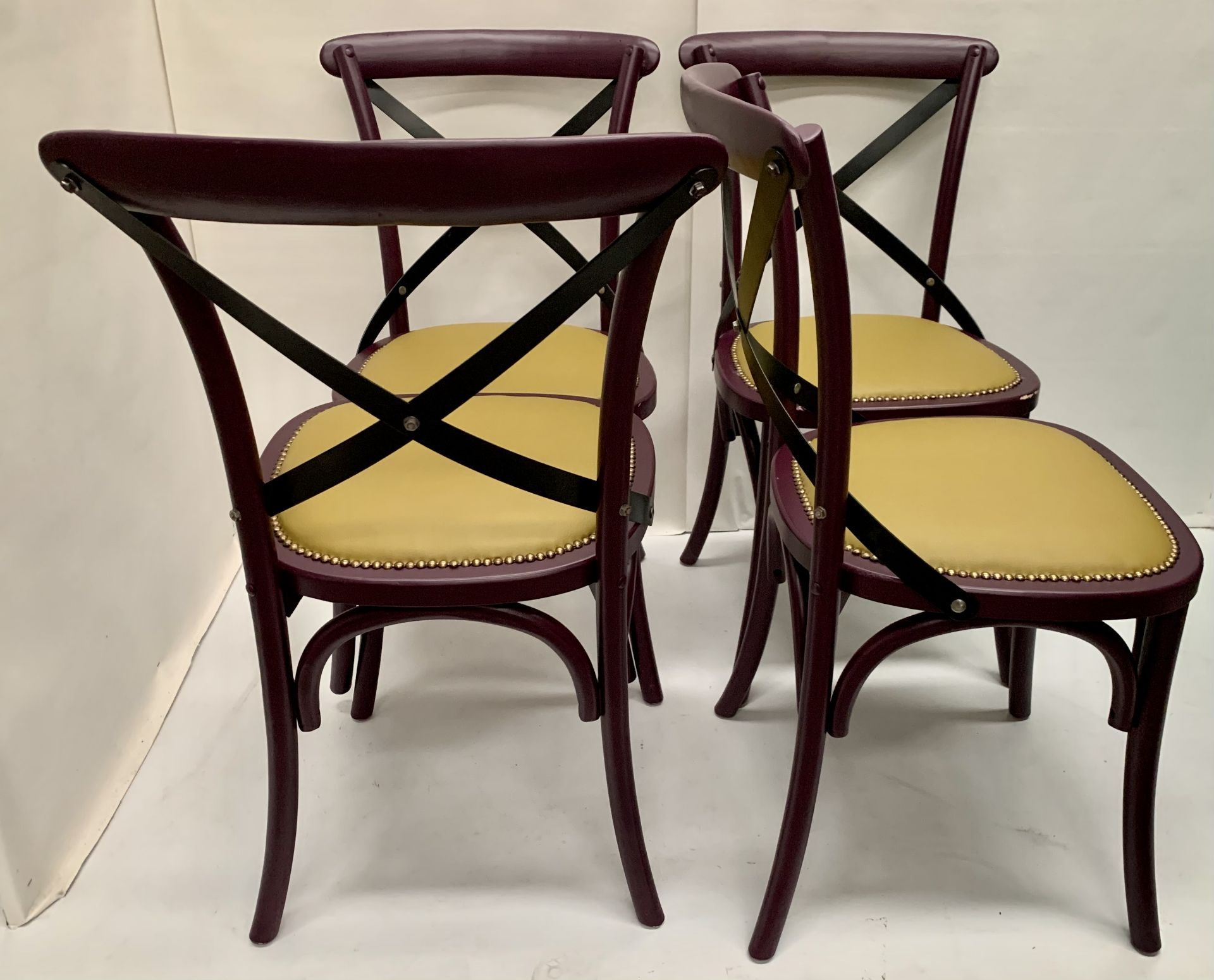 4 x Palm dark purple wooden dining chairs with raw coloured leather effect seats - 51cm x 55cm x - Image 3 of 3