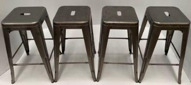4 x brushed metal transparent high bar stools 675mm (1 outer box)
