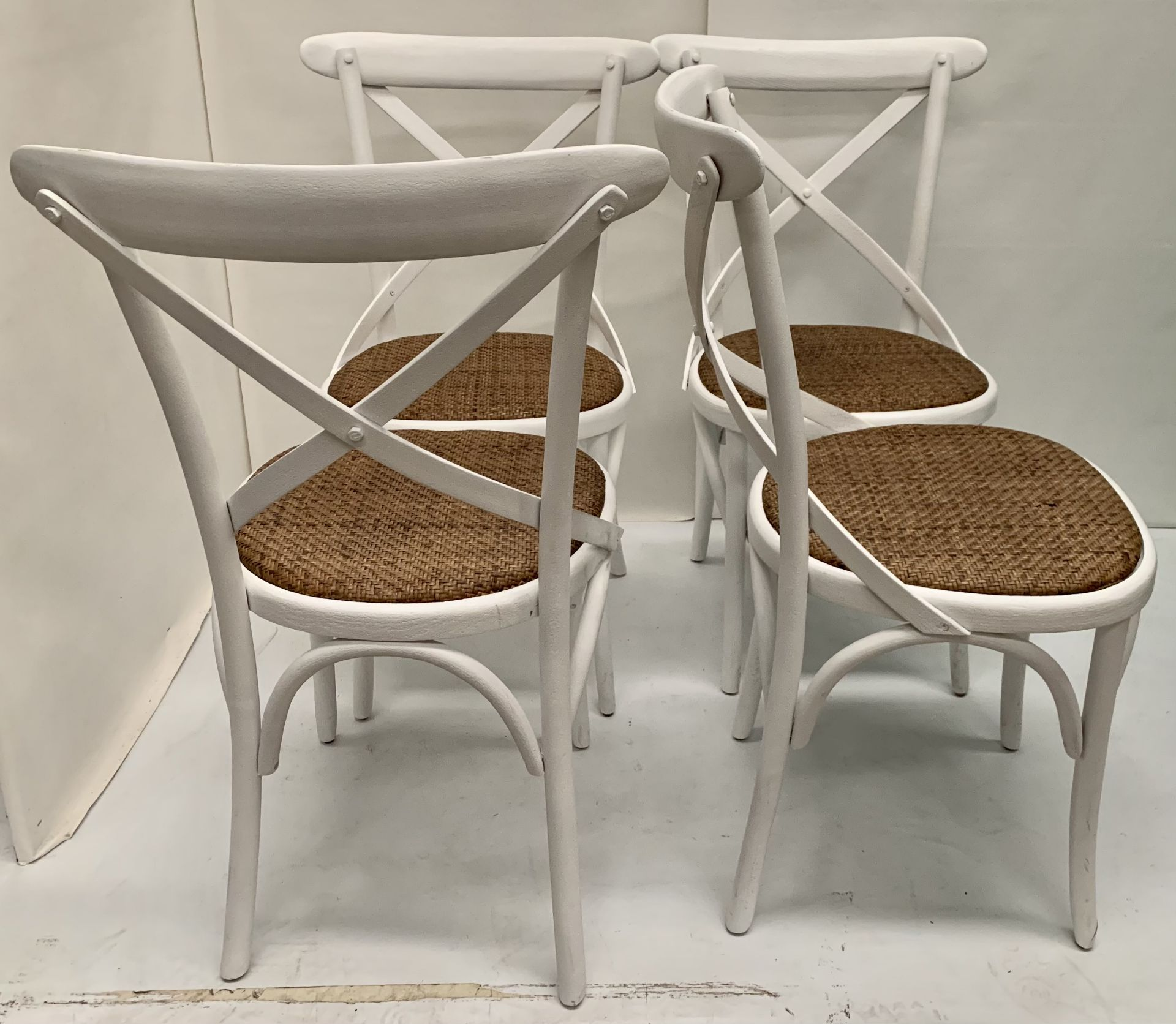 4 x Palm white wooden dining chairs with hessian seats, - Image 2 of 2