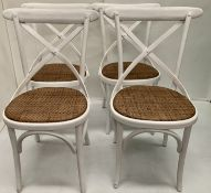 8 x Palm white wooden dining chairs with hessian seats,