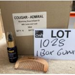 1 x box of Cougar/Admiral Nourishing Shave & Beard Oil with carton and comb 30ml (6 units per box)