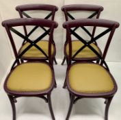 4 x Palm dark purple wooden dining chairs with raw coloured leather effect seats - 51cm x 55cm x