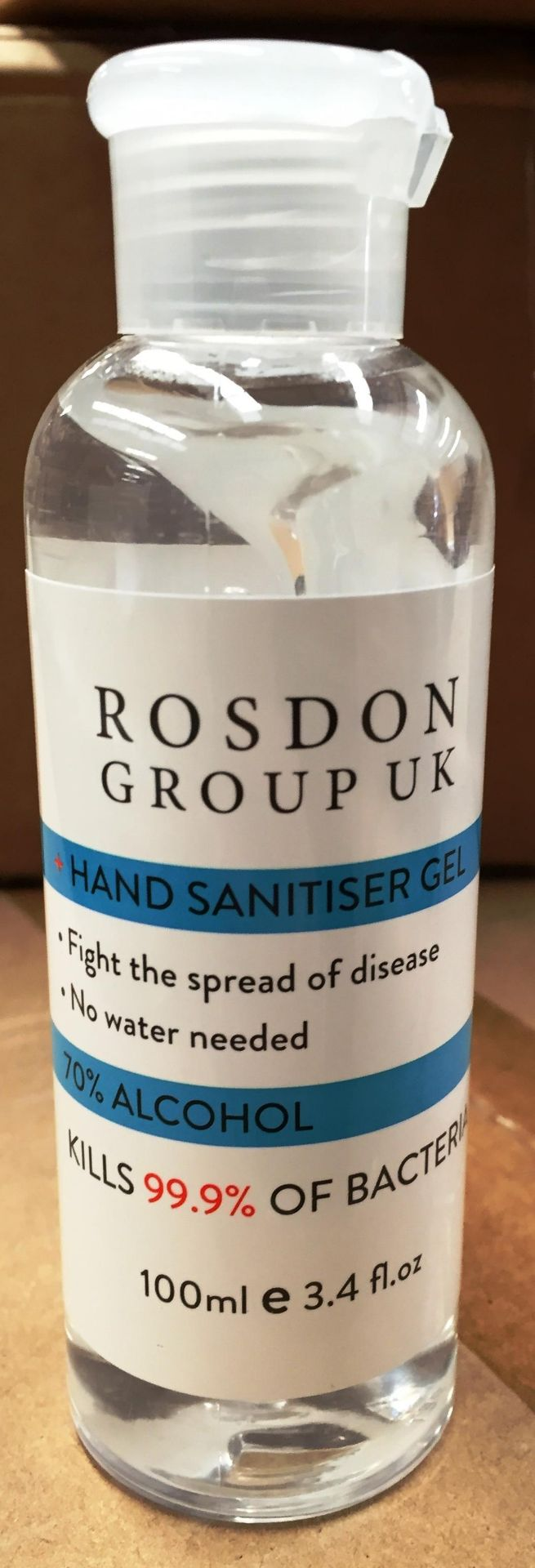 1 x box Rosdon Group Ltd 100ml hand sanitiser (192 units per box)