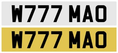 CHERISHED REGISTRATION NUMBER W777 MAO complete with retention document to be assigned before 17.
