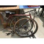 An Astra Super Espirit three speed gentleman's bicycle in red with drop handle bars (dismantled)