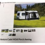 A VENTURA CADET W260 PORCH AWNING (two bags), colour burgundy/sand.