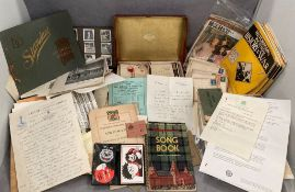 Tray of vintage and assorted ephemera - hundreds of items but noted Letter from the British Embassy