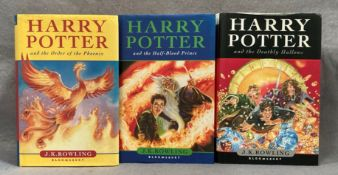 J K Rowling three Harry Potter First Editions published by Bloomsbury all complete with dust