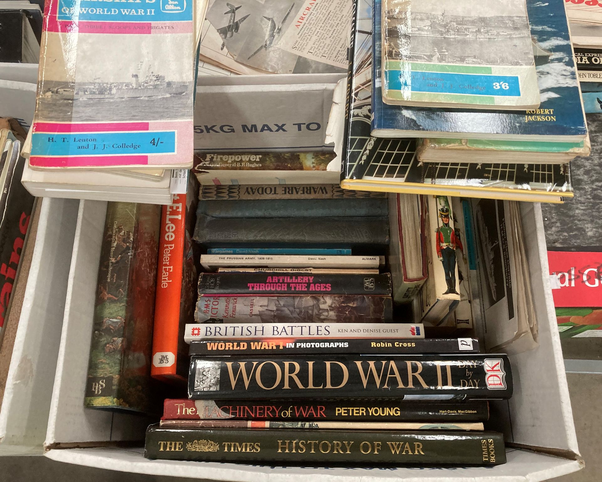 Contents to two boxes books on military, air and nautical warfare - Waterloo, Peter Earle 'Robert E. - Image 3 of 3