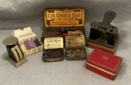 Contents to tray a spring letter balance, an old hole punch, old stamp punch set,