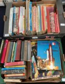 Contents to two trays a quantity of mainly childrens books and annuals, Blue Peter,