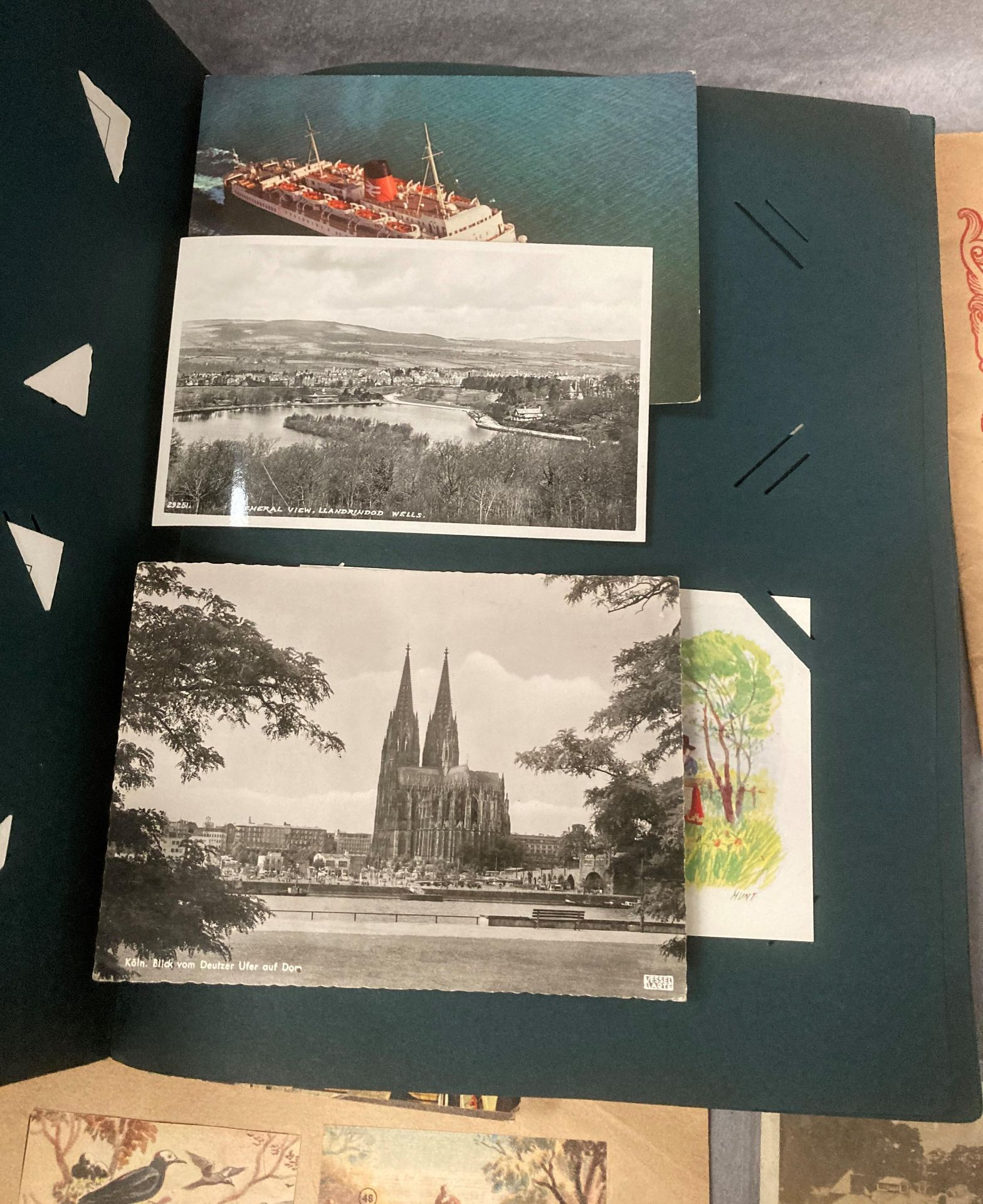 A post card album containing approximately 75 black and white and colour topographical and other - Image 3 of 5