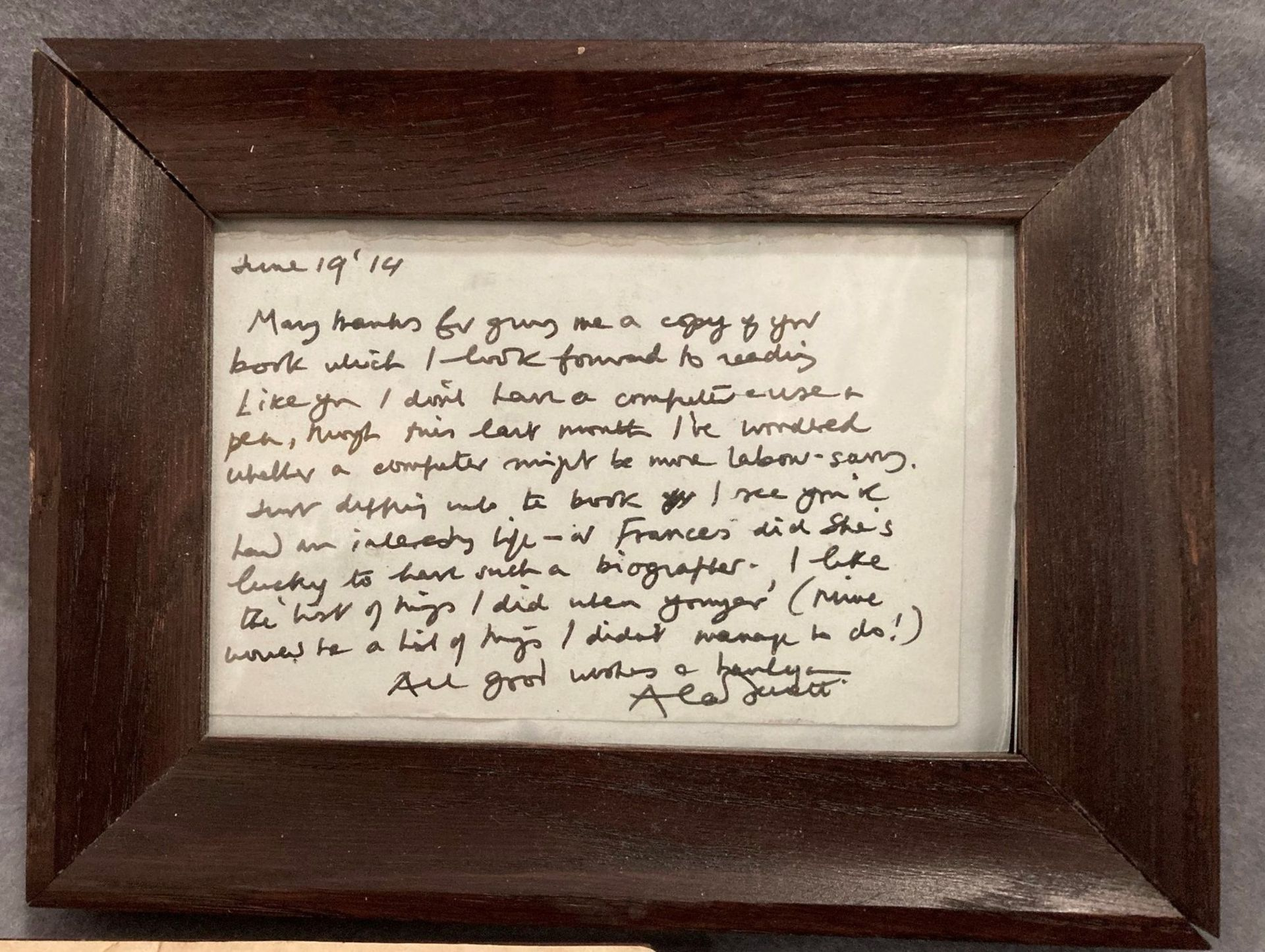 A small hand written note signed Alan Bennett and dated June 19th fourteen in oak frame thanking - Image 2 of 2
