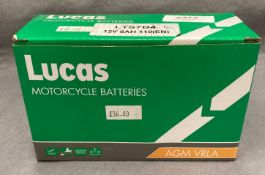 A Lucas LTS75S5 motorcycle battery (boxed)