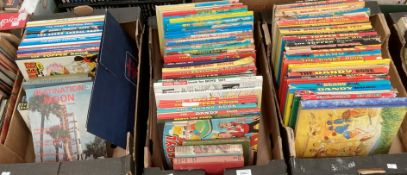 Contents to three trays sixty five childrens annuals running from circa 1965-2006 to include Beano,