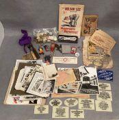Box of miscellaneous collectable/ephemera including photos of Leeds Bus Station circa 1970s,